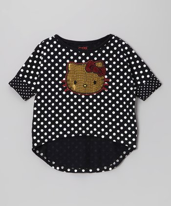 Black Polka Dot Hi-Low Top - Toddler