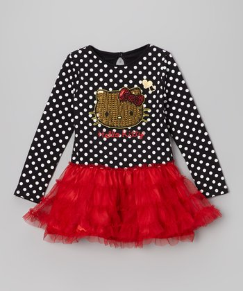 Black Polka Dot Tutu Dress - Girls