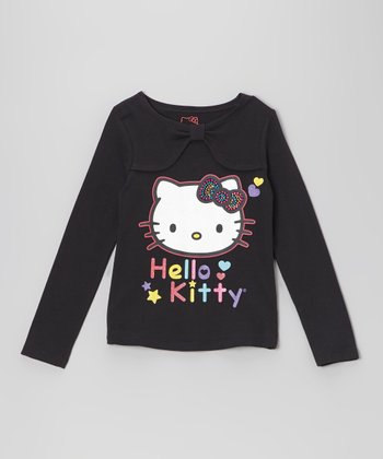 Black 'Hello Kitty' Bow Collar Tee - Girls