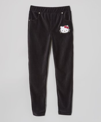 Black Corduroy Velour Pants - Girls