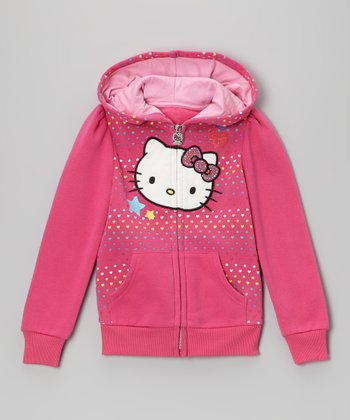 Carmine Rose Polka Dot Heart Fleece Hoodie - Toddler