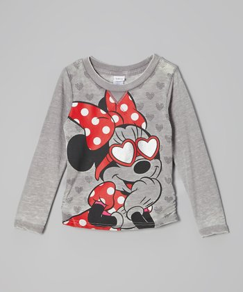 Heather Gray Minnie Heart Hi-Low Top - Girls