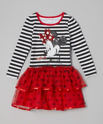 White Polka Dot & Stripe Minnie Dress - Toddler