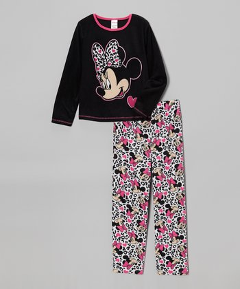 Black & White Minnie Leopard Tee & Pants - Girls
