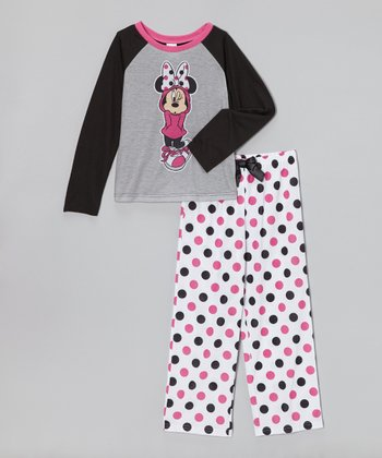 Gray & Pink Minnie Pajama Set - Girls