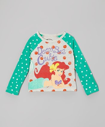 Mint Polka Dot Ariel Raglan Tee - Toddler