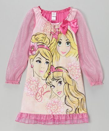 Pink 'Princess' Sparkle Nightgown - Girls