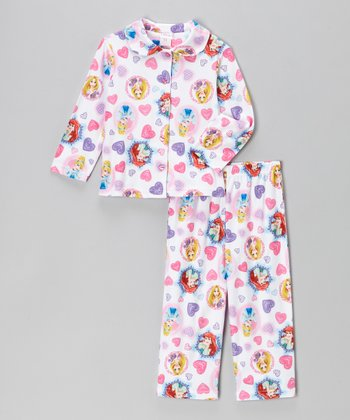 White Princess Heart Pajama Set - Infant & Toddler
