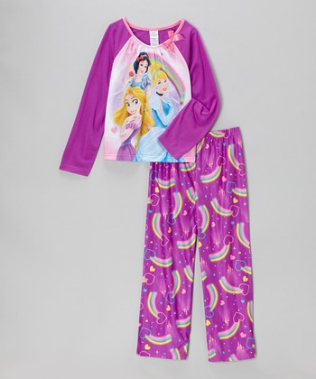 Purple Princess Rainbow Pajama Set - Girls