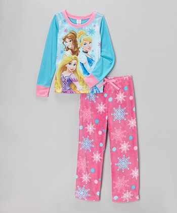 Turquoise & Pink Princess Snowflake Pajama Set - Girls