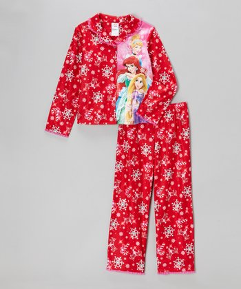 Red Princess Snowflake Pajama Set - Girls