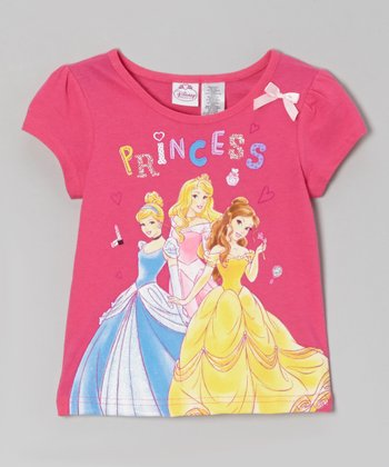 Pink 'Princess' Bow Cap-Sleeve Tee - Toddler & Girls