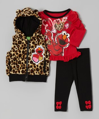 Red & Leopard Elmo Hooded Vest Set - Infant