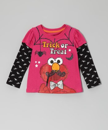 Bright Pink 'Trick or Treat' Elmo Layered Tee - Toddler