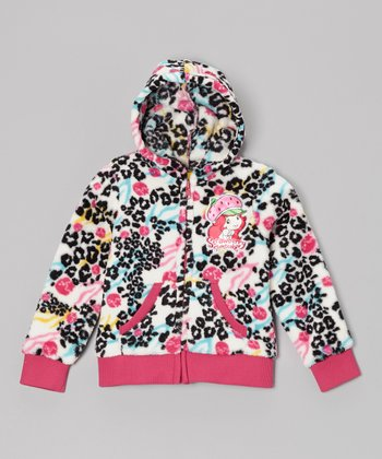 Light Beige & Pink Cheetah Zip-Up Hoodie - Girls
