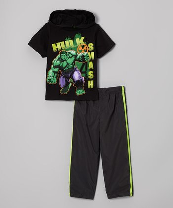Black & Gray 'Hulk Smash' Hooded Tee & Pants - Toddler
