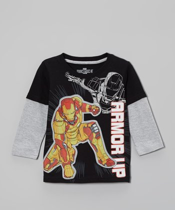 Black & Gray Iron Man 'Armor Up' Layered Tee - Toddler