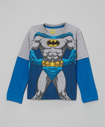 Gray & Blue Batman Costume Layered Tee - Toddler & Boys