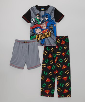 Black & Gray Justice League Pajama Set - Boys