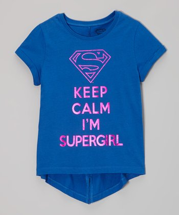 Blue 'Keep Calm I'm Supergirl' Tee - Girls