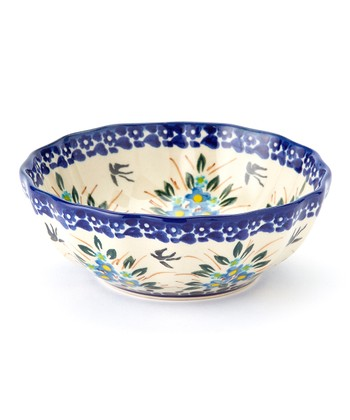 Blue Flower Bunch Scalloped Bowl