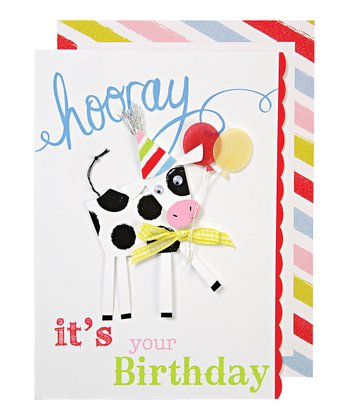 Hooray Birthday Spotty Cow Card & Envelope
