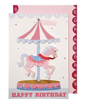 Pink Pony Carousel Birthday Card & Envelope
