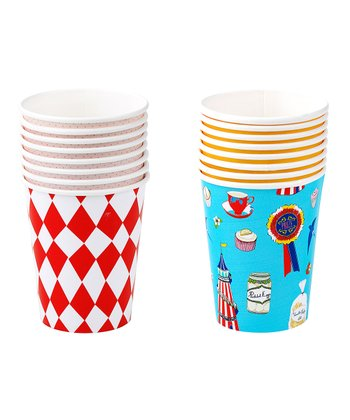 Blue & Red Eight-Piece Birthday Cup Set