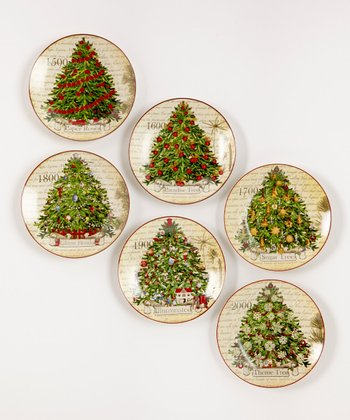 Carlson Fine Art Christmas Tradition Tree Dessert Plates Set