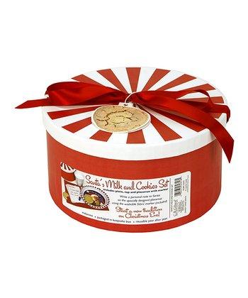 C.R. Gibson Candy Cane Santa Milk & Cookies Melamine Set