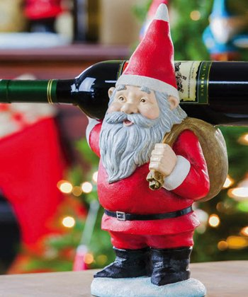 Cypress Home Santa Gnome Carrying Wine Bottle Holder