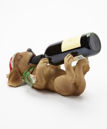 Cypress Home Canine Christmas Wine Bottle Holder