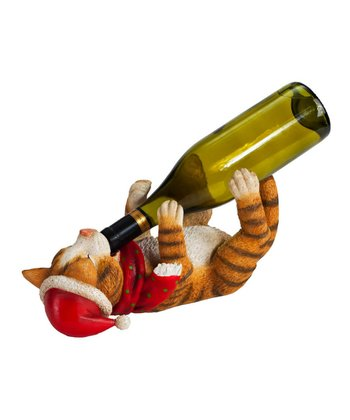Cypress Home Kitty Cat Christmas Wine Bottle Holder