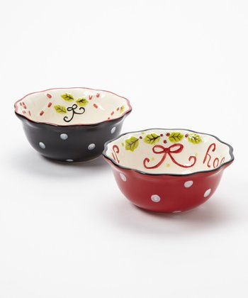 Happy Holly Days Hand-Painted Bowl Set