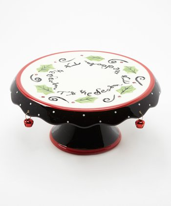 Cypress Home Happy Holly Days Reversible Ceramic Cake Plate