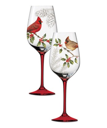 Heaven & Nature Sing Hand-Painted Wineglass Set