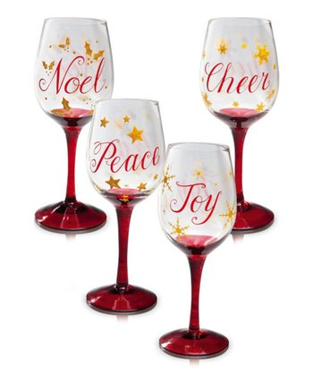 Christmas Slippers Wine Glass Set