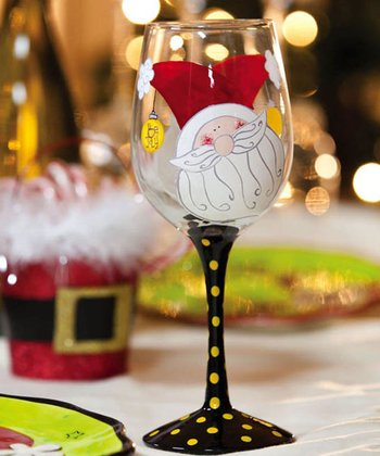 Cypress Home Happy Holly Days Hand-Painted Glitter Wine Glass