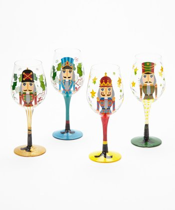 Nutcracker Hand-Painted Wineglass Set