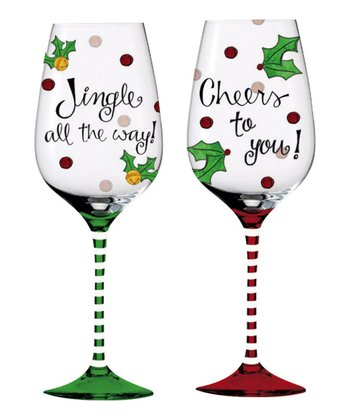 Cypress Home Will Kiss for Cocktails Hand-Painted Wine Glass Set