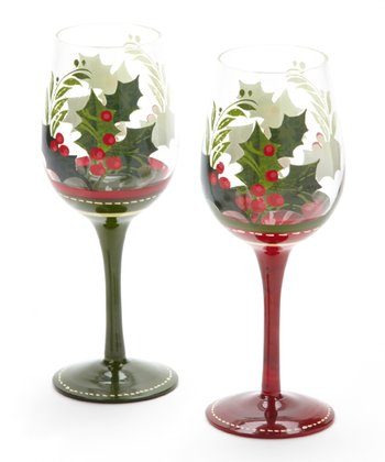 Cypress Home Winter Lodge Hand-Painted Wine Glass - Set of Two