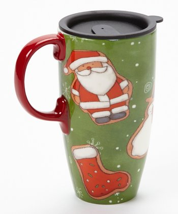 Cypress Home Jingle Jolly Ceramic 17-Oz. Latte Travel Mug