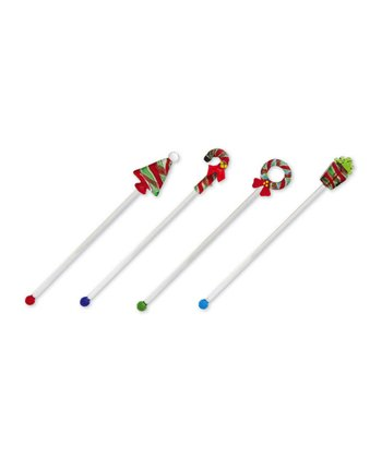 Cypress Home Holiday Glass Swizzle Stick - Set of Four