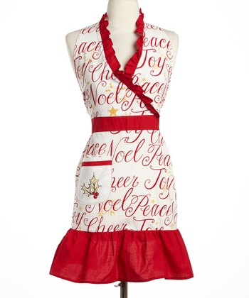 Cypress Home Christmas Slippers Ruffle Apron