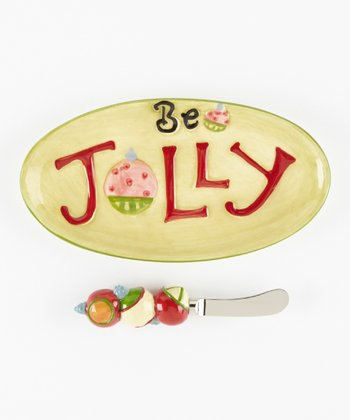 Cypress Home 'Be Jolly' Serve It Plate & Spreader