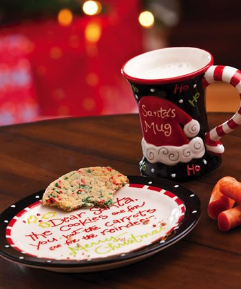 Cypress Home Happy Holly Days Cookies & Cocoa for Santa Mug & Plate