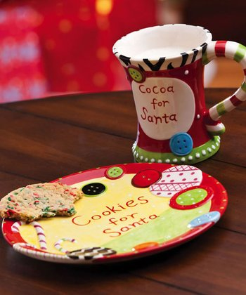 Cypress Home Dear Santa Cookies & Cocoa for Santa Mug & Plate