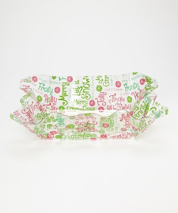 Red & Green 'Merry Christmas' Ruffle Top 15'' Bowl