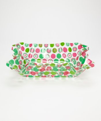 Red & Green Dot Ruffle Top 15'' Bowl