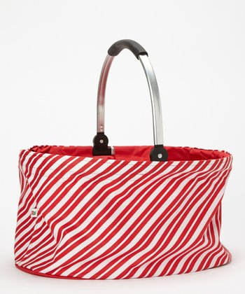 Dennis East International Red & White Stripe 18.5'' Folding Market Basket